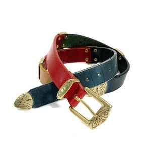 Colorblock Leather Belt